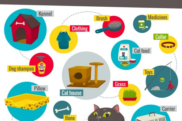 cat and dog care items pet shop infographics vector 8107004 600x400 - Evcil Hayvan Ürünleri